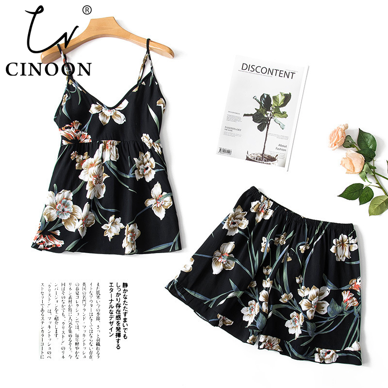 CINOON 2pcs Fashion Women Cotton Pajama Set V-neck Strap Pyjamas Cute Cami Top And Shorts Summer Flower Comfort Homewear