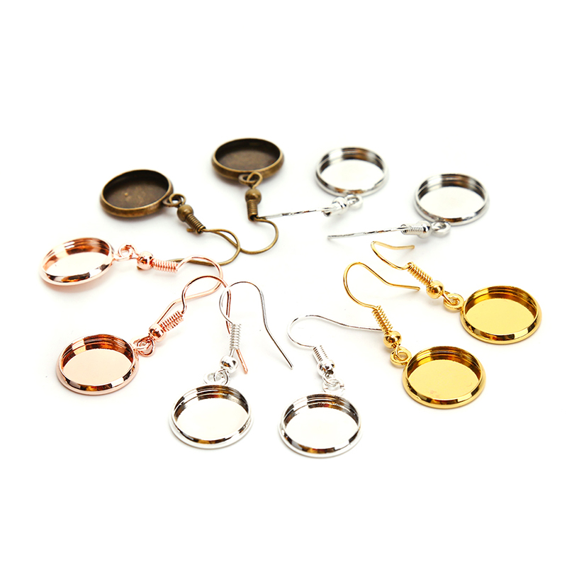 10pcs/lot Blank Setting Round Pendant Ear Base Tray Bezel Cabochon Earring Hook Findings For DIY Glass Cameo Jewelry Making
