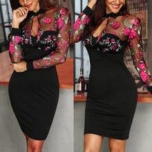 FashionSheer Maille Robes Pour Femmes Vêtements Floral Broderie Maille Robes Dames Outwear Patchwork décontracté Robe de Travail erp Robes