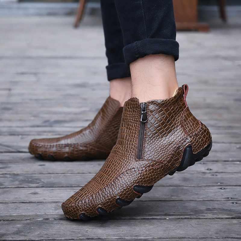 Fashion Kwaliteit Lederen Mannen Laarzen Winter warm casual schoenen Mannen Schoeisel Rits Mannelijke Enkel Zwarte laarzen botas hombre Rubber