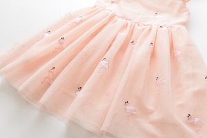 Image 5 - אהבה DD & MM בנות שמלות 2020 ילדים חדשים בגדים מתוק בעלי החיים פלמינגו רקום פאייטים רשת נסיכת שמלת ילדה 3 8 שנים