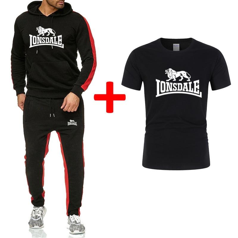 2020 New Men's Suit Brand Sportswear Track Suit Suit Men's Clothing + Printed Short-sleeved Three-piece Sports Suit Men's Hoodie
