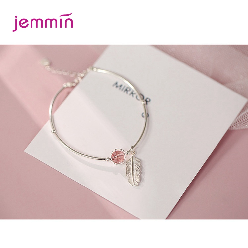 Vintage Style Feather Jewelry Bangle for Ladies Fine 925 Sterling Silver with Pink Strawberry Stone Adjustable Bracelets(China)