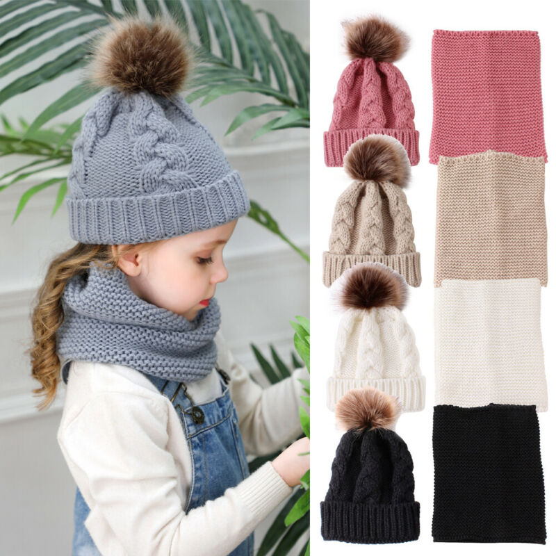2019 Baby Accessories Toddler Baby Girls Hat Winter Raccoon Fur Pom Knit Beanie Ski Cap Bobble Hat + Scarf 2Pcs Warm Set