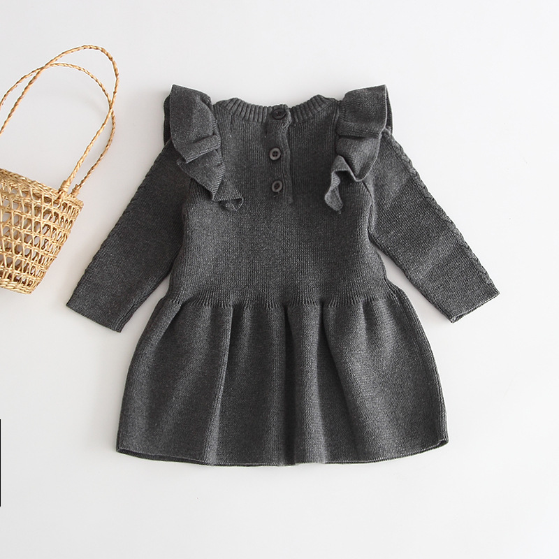 H5676b8d6a7894f02994b5bf3a05fdc2dw Girls Knitted Dress 2019 autumn winter Clothes Lattice Kids Toddler baby dress for girl princess Cotton warm Christmas Dresses