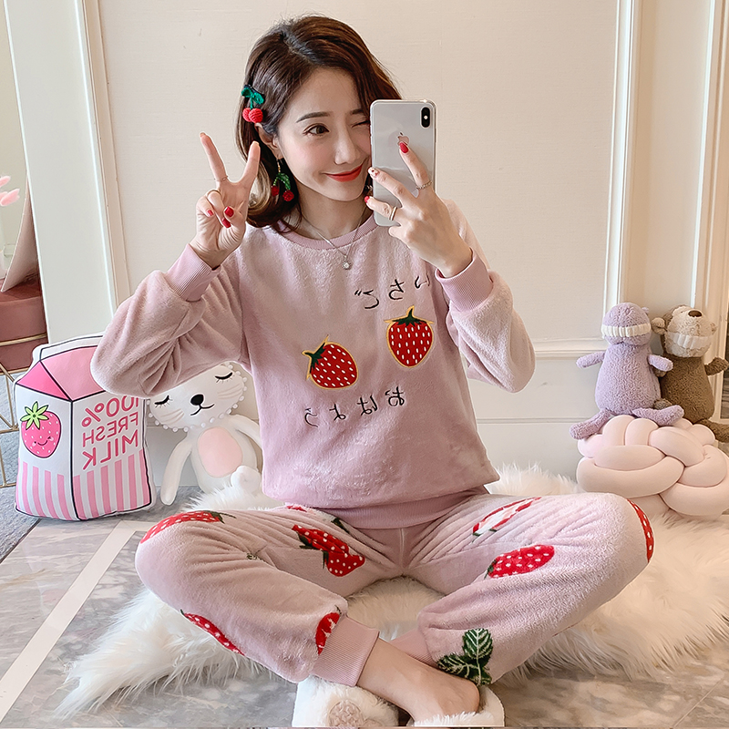New Women Gift Adult Flannel Pajamas Sets Winter CartoonThick Warm Flannel Women Pyjama Sets Cute Sleepwear for Ladies Nightwear 82