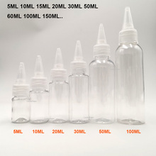 5pcs/Pack 5ml 10ml 20ml 30ml 100ml 150ml Capacity E-liquid Bottle PET Material E-juice Dropper for E Cigarette