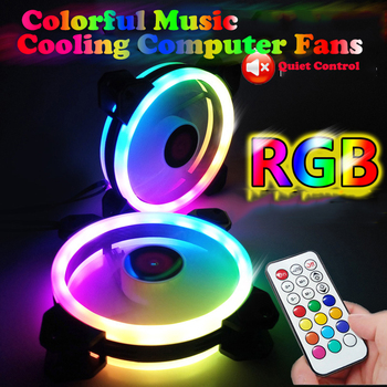 Colorful Music RGB Computer Case PC Fan Adjust Cooling Fan 12cm Quiet Control AURA SYNC Computer Cooler Cooling RGB Case Fans 1