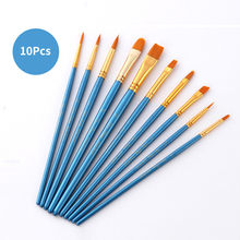 10Pcs/Set Watercolor Paint Brush Set Different Shape Flat Round Pointed Tip Nylon Hair Painting Art Supplies