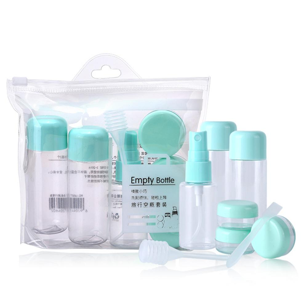 8Pcs/set Portable Spray Refillable Bottles Kit Plastic Face Cream Lotion Makeup Container Home Travel Empty Spray Refill Bottles