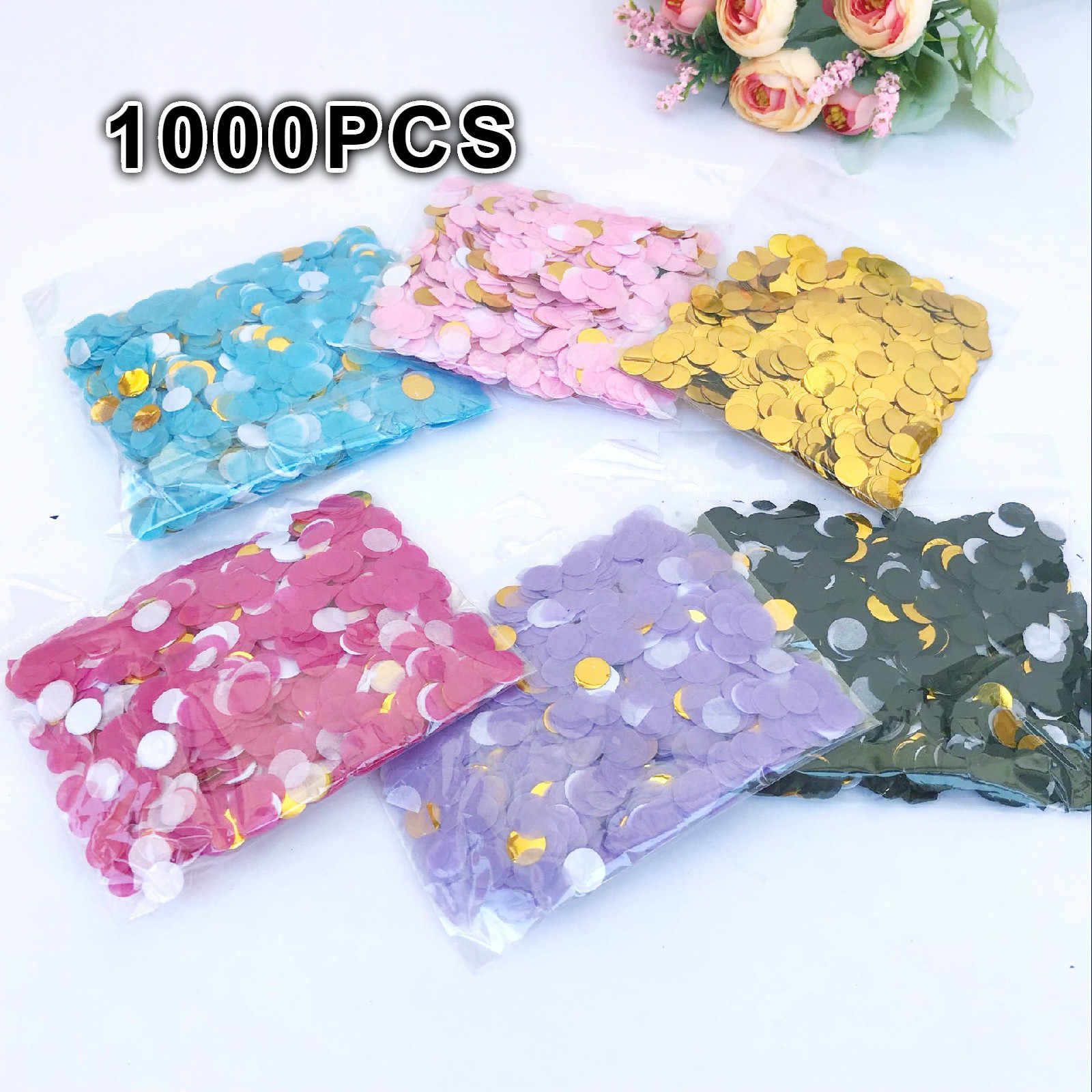 1cm 1000pcs/bag paper Confetti Mix Color for wedding birthday party decoration round Tissue for clear balloons accessories