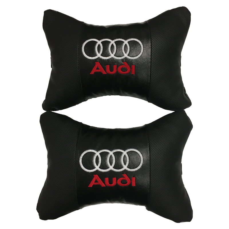 Car Neck pillow leather Auto Seat Head support protector rest travel cushion for Audi  2 pcs