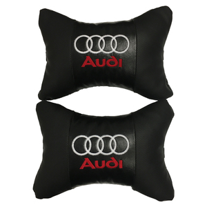 Car Neck pillow leather Auto Seat Head support protector rest travel cushion for Audi (2 pcs)