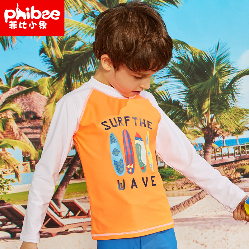 Phibee Phoebe Baby Elephant New Style BOY'S Long-sleeved T-shirt Beach Protection Suit Printed Europe And America Children Outdo