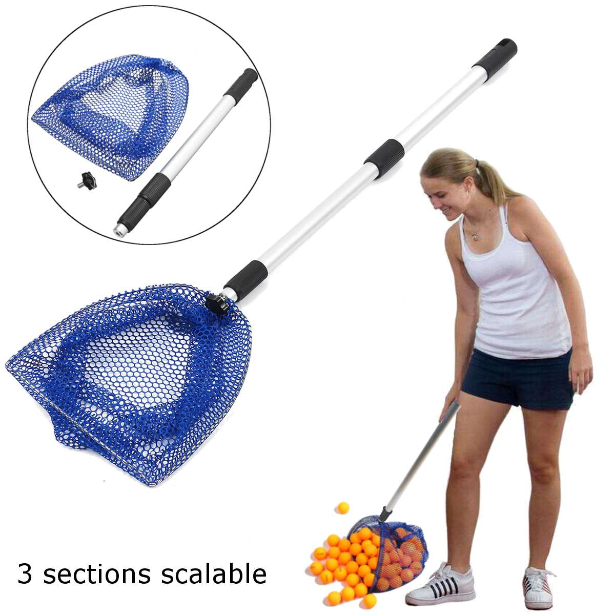 Telescopic 3 Section Extendable Aluminium Pole Table Tennis Ball Picker Net For Ball Picking Table Tennis Accessories