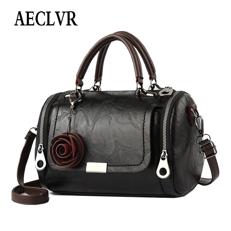 AECLVR Flower Pendant Shoulder Crossbody Bag Soft PU Leather Women Bags Solid Color All-match Fashion Ladies Pillow Handbags