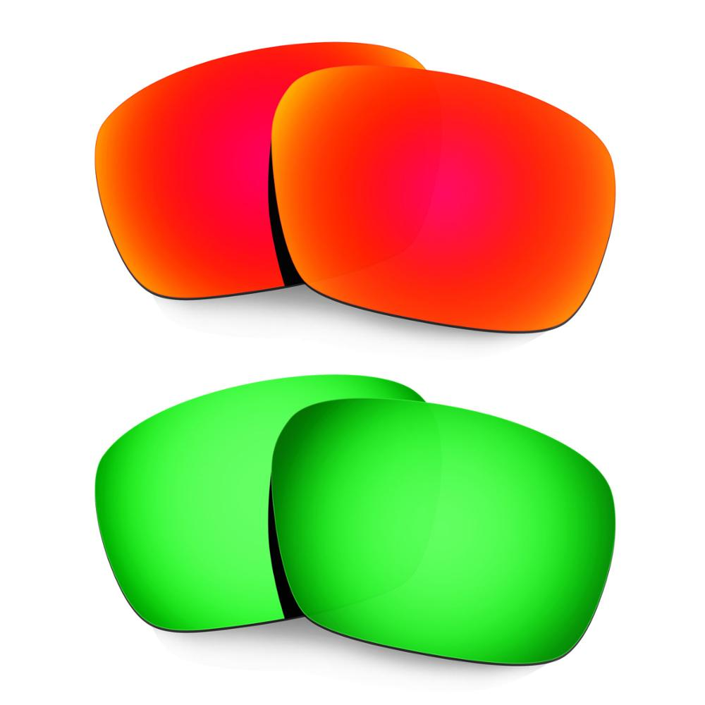 HKUCO For Badman Sunglasses Polarized Replacement Lenses 2 Pairs Red & Green
