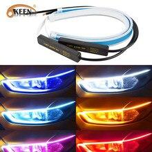 Okeen-Tira de led flexible para coche, luces diurnas DRL, intermitente, resistente al agua, muy fina, tubo suave, amarillo, blanco, 30 45 60cm