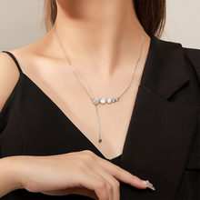 2021 New S925 Sterling Silver Gold Plated Light Luxury Tassel Coin Natural pearl Inlay Women's Pendant Necklace Mother's Gift