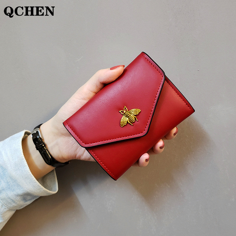 Women's Wallet Leather Small Bee Luxury Brand Famous Mini Wallets Solid Purses Short Female Coin Purse Credit Card Holder  688