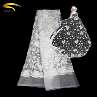 African white transparent wedding dress lace embroidery fabric