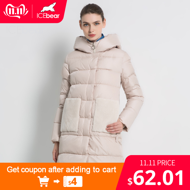 ICEbear 2019 New Winter Womens Parka Jacket Hooded Female Coats Long Woman Cotton Brand Apparel GWD18213I