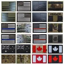ИК Светоотражающие нашивки с флагами США Франция Испания Канада