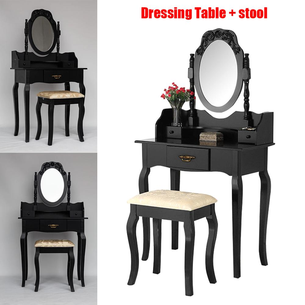 Dressing Table Europe Style Woman MDF Board Black Solid Wood Makeup Dressing Table Set Stool 3 Pieces Mirror Cabinet With Chair