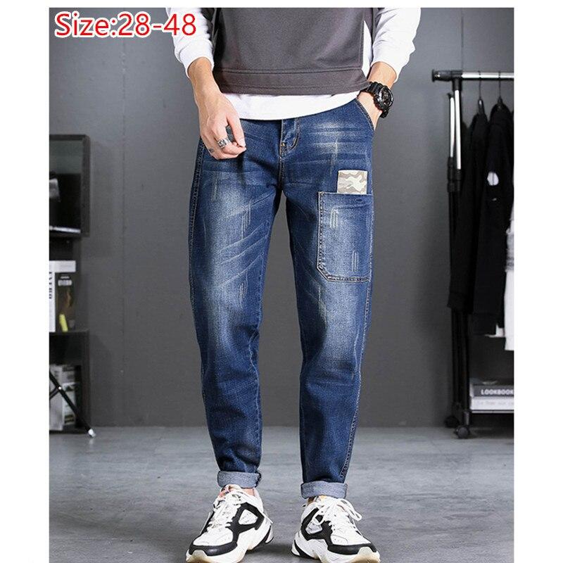 Pencil Jeans Men HipHop Distressed Black Denim Pants Man Pocket Boys Plus Size 44 46 48 Stretched Elastic Autumn Winter Trousers