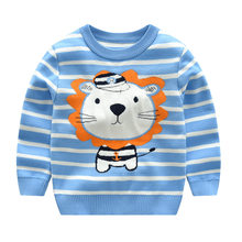 Boys Sweaters 2019 Kids Boys Sweaters And Tops Cartoon Animal Lion Knitted Sweater Stripe Long Sleeve Pullover Sweater(China)