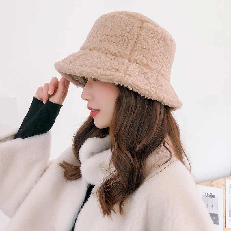 ผู้หญิงหมวกขนสัตว์ประดิษฐ์หญิงอบอุ่นหมวกFaux Furฤดูหนาวหมวกผู้หญิงครีมกันแดดกลางแจ้งSunหมวกปานามาหมวกผู้หญิง