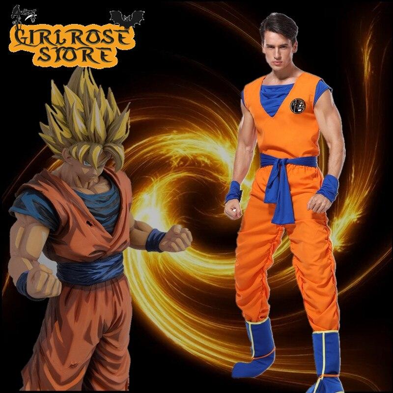 High Quality 5PCS Adult Dragon Ball Z Goku Cosplay Costume Suit Anime Dragon Ball Son Goku Halloween Cosplay Costumes Uniforms