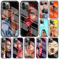 Funda de cristal negra Afro para iPhone 12 11Pro 7 XR X XS Max 8 6 6S Plus SE, 2020