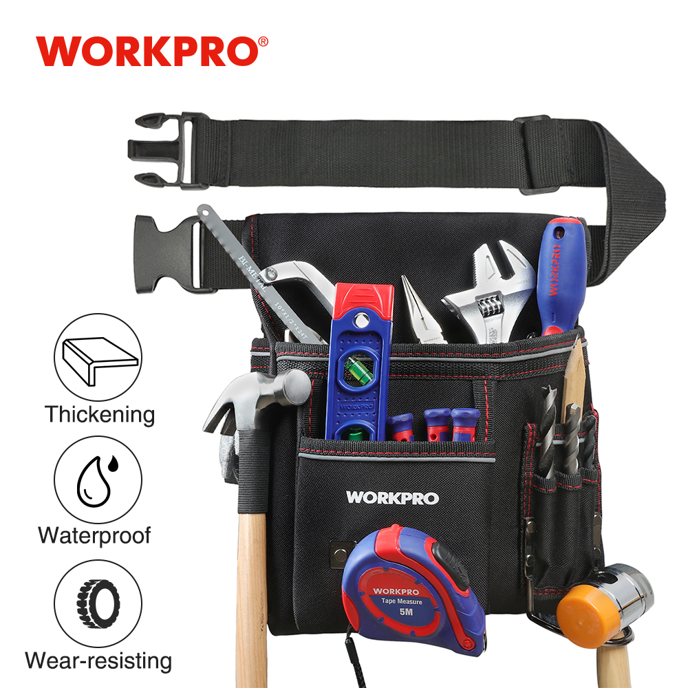 WORKPRO Belt Bag Multifunction Belt Tool Pouch Electrician Waist Tool Bag Tool Holder Convenient Work Organizer