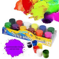 20ml 12 żywych kolorów zmywalna farba gwasz dla dzieci szkolne farbki do malowania palcami