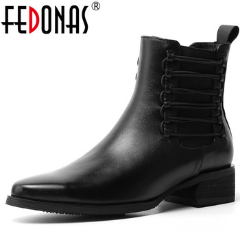 FEDONAS New Quality Genuine Leather Women Low Heels Elastic Band Ankle Boots Fashion Female Chelsea Boots Dancing Shoes Woman