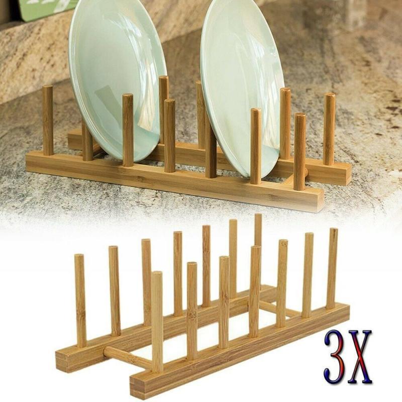 Бамбуковая подставка для посуды и кастрюль с крышкой, сушилка для посуды, сушилка для сушки, сушилка для хранения, подставка для кастрюли, кухонный шкаф, органайзер, Новинка|Полки и держатели|   | АлиЭкспресс - Для кухни