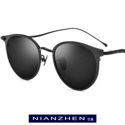 NIANZHEN чисто титановые Солнцезащитные очки Мужские Винтажные круглые поляризованные солнцезащитные очки для женщин 2019 новые ретро зеркальн...