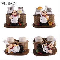 VILEAD 8cm Resin Chef Pepper Bottle Figurines Simple And Modern Creative Crafts Gifts Ornaments Cute Character People Decoration
