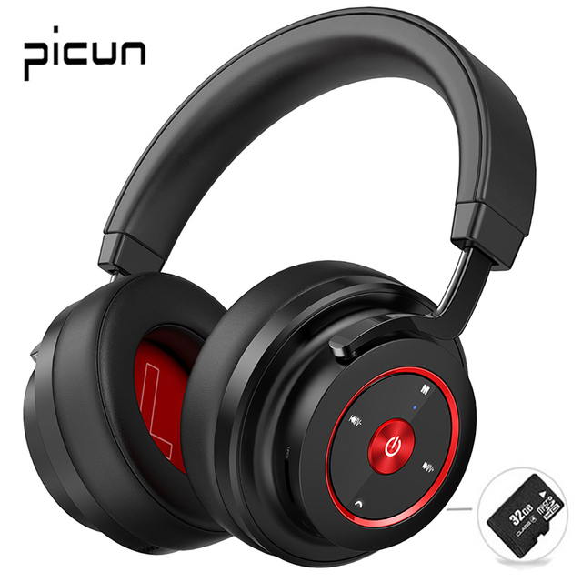 Picun P20 Bluetooth Headphone 5.0 Over Ear Wired Wireless Headphones Foldable Monitor DJ Stereo Headset with Mic Support TF Card