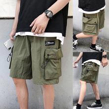 Мужчины однотонный цвет шнурок резинка пояс карманы пятый карго брюки шорты