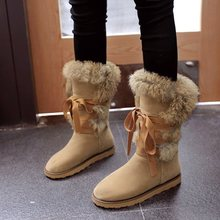Women Boots Female winter boots Warmer Plush Bowtie Fur Suede Flat Slip On Ankle Snow Boots Women's Shoes Fashion Platform Black