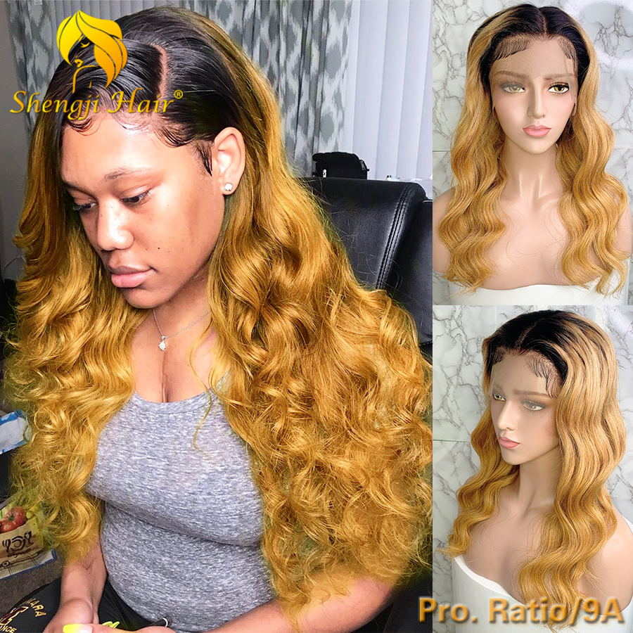 13x6 Lace Front Human Hair Wigs For Black Women Brazilian Ombre Lace Front Wig Pre Plucked With Baby Hair Shengji Remy Hair Wig