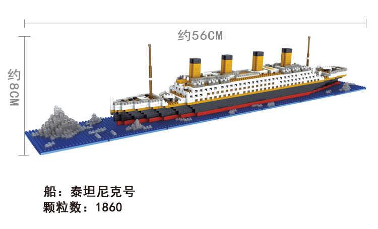 1860 Pcs NO Match ฿ Legoinglys TITANIC ชุด Cruise เรือเรือ DIY อาคารเพชร MINI Blocks ชุดเด็กของเล่น