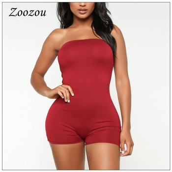 Summer Off Shoulder Sleeveless Playsuits Strapless Plus Size Sexy Bodycon Short Jumpsuits Women Solid Skinny Playsuits Custom wuhe two pieces set sexy lace patchwork jumpsuits women off shoulder sleeveless bodycon bandage romper party short playsuits