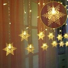 Luzes led string floco de neve cortina de fadas luz à prova dwaterproof água ao ar livre iluminação natal festa casamento decoração piscando lâmpada q35