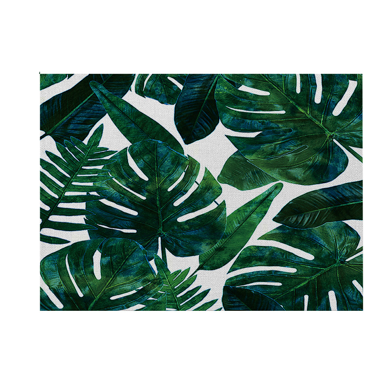 Tropical Plants Tableware Non-Slip Chic Placemat Pad Dining Table Mat Heat Insulation Placemats Green Leaf Cactus Bowl Coaster