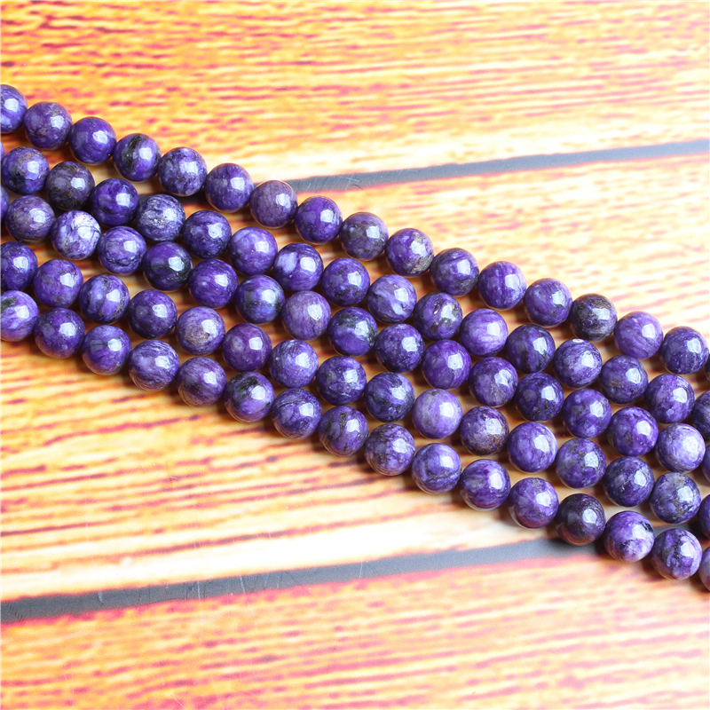 Purple Dragon Crystal Natural Stone Bead Round Loose Spaced Beads 15 Inch Strand 4/6/8 / 10mm For Jewelry Making DIY Bracelet