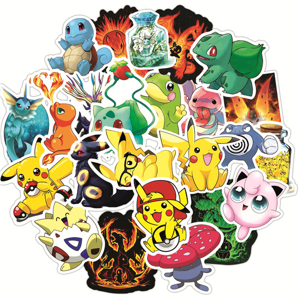 50pcs-font-b-pokemon-b-font-psyduck-cartoon-stickers-waterproof-vinyl-decal-for-laptop-helmet-bicycle-luggage-guitar-car-children-stickers-toy