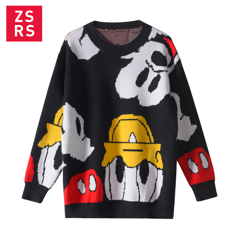 Zsrs 2019 New Autumn And Winter Korea New Donald Duck Mickey Mouse Sweater Sweater Loose Personality Sweater Cartoon Female